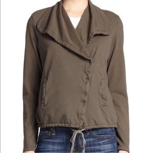 James Perse Knit Twill Moto Jacket Army Green